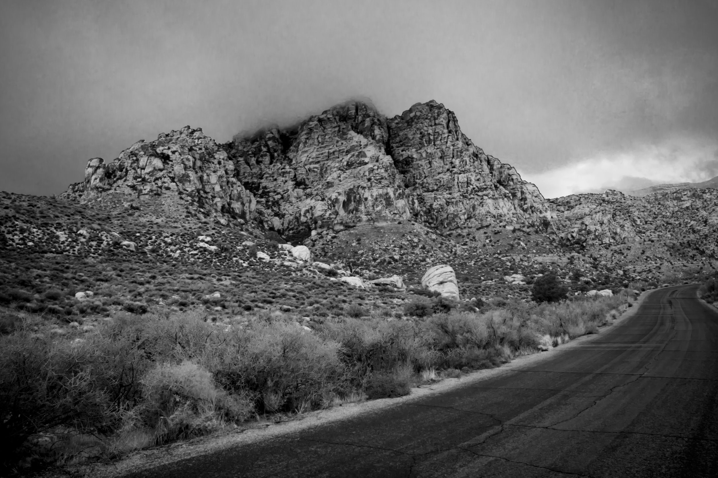 black and white photo Red Rock Canyon mountains las vegas