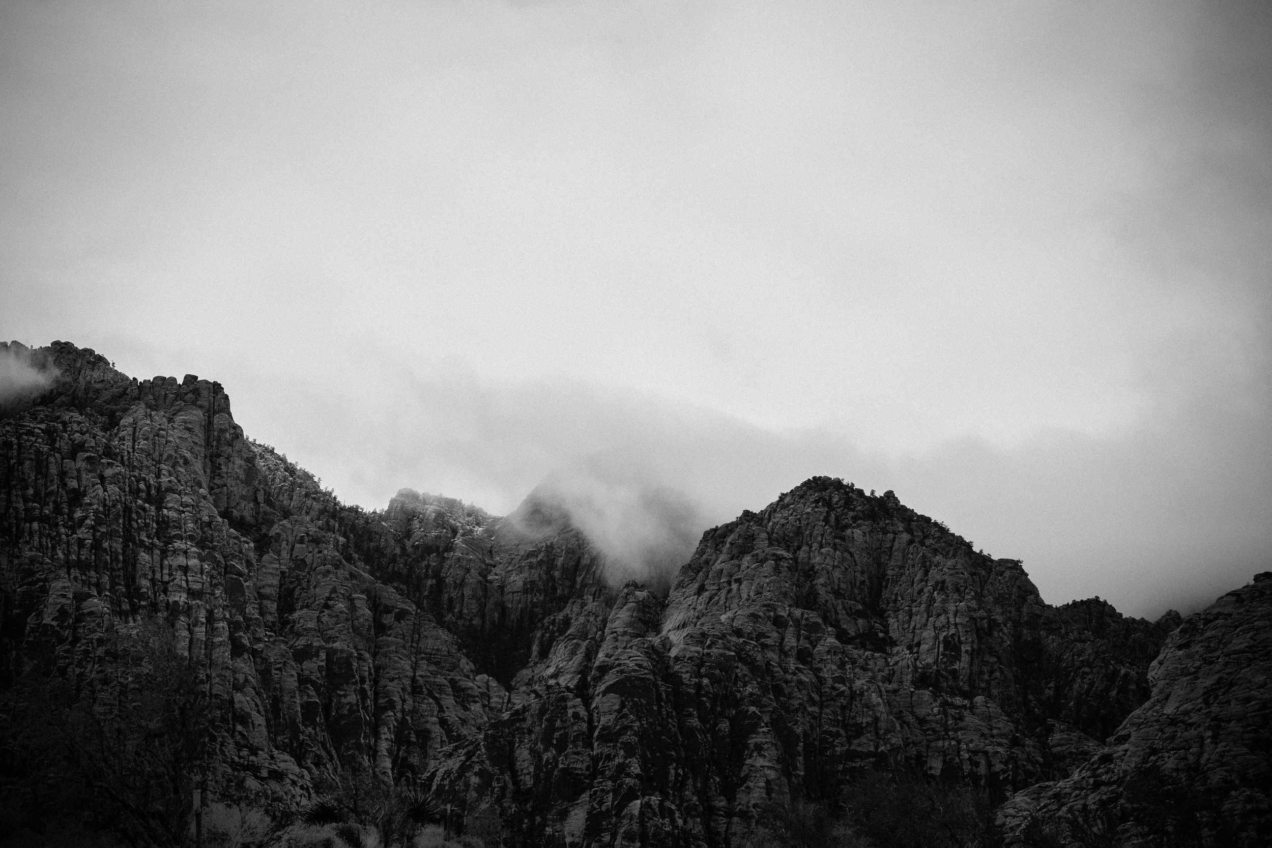 black and white photo Red Rock Canyon mountains