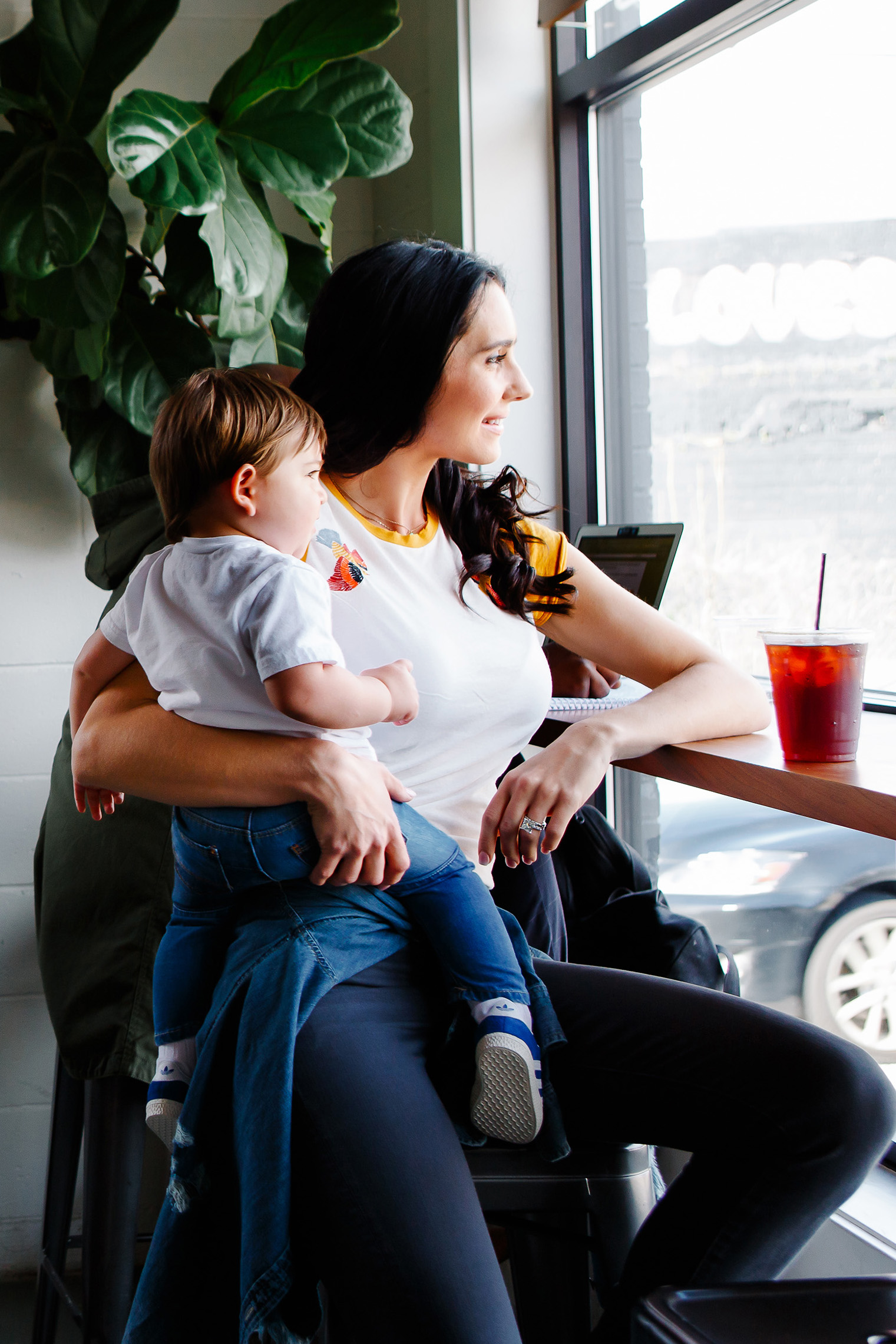 coffee break with son   Los Angeles mom lifestyle commercial