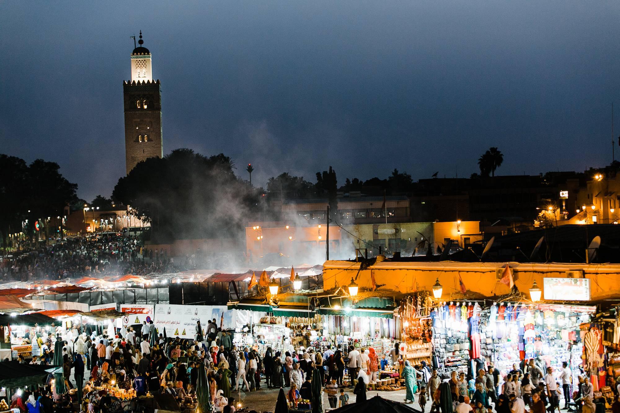 Jemaa el-Fnaa Marrakesh evening Morocco
