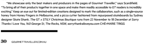Gourmet Traveller x Sorry Thanks I Love You boutique store 1016