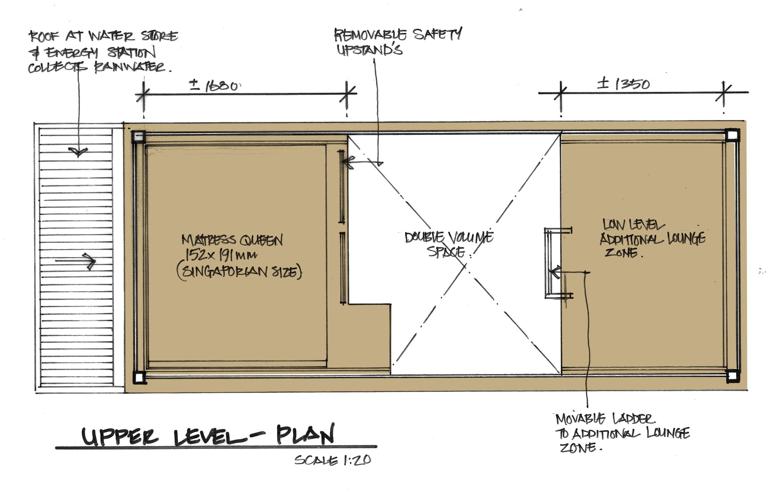 SKETCH PLAN MEZZANINE SLEEPING AND LOUNGE SPACE