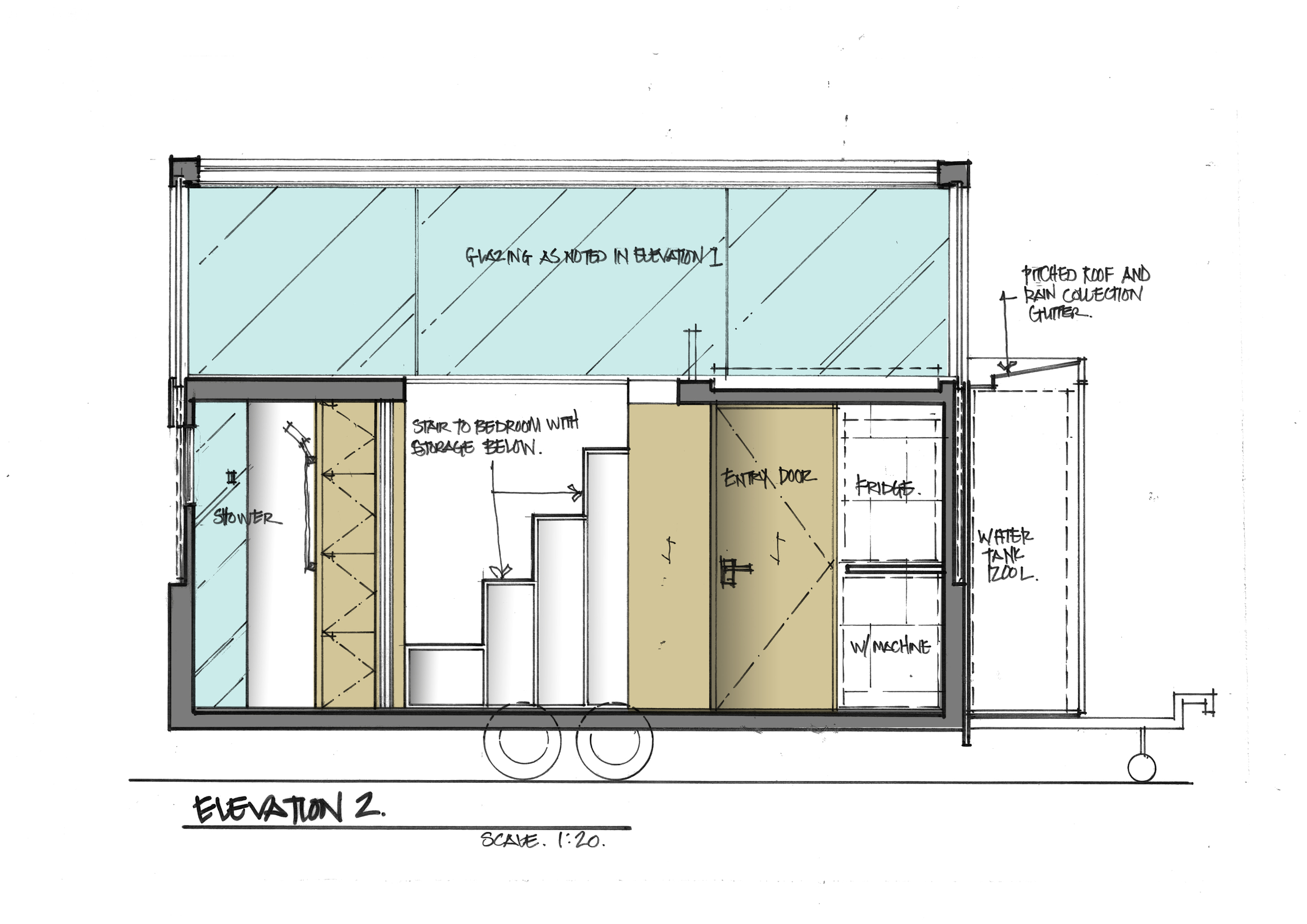 SKETCH ELEVATION OF STORAGE STAIRCASE