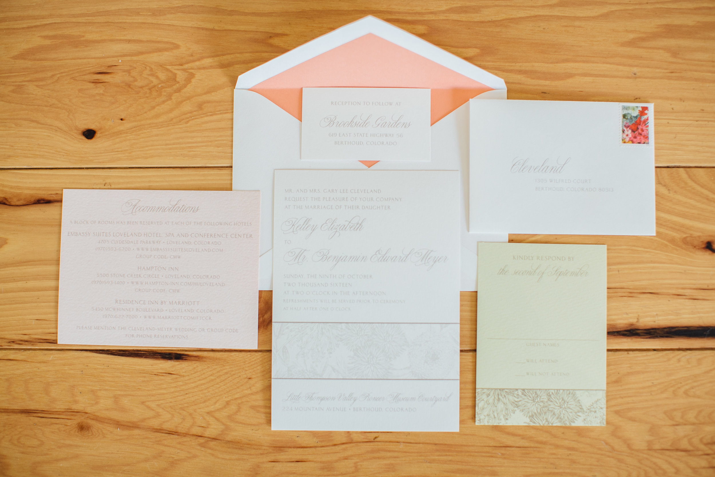 Peach and Pale Green Wedding Invitations Little Thompson Valley Pioneer Museum Berthoud Colorado Wedding