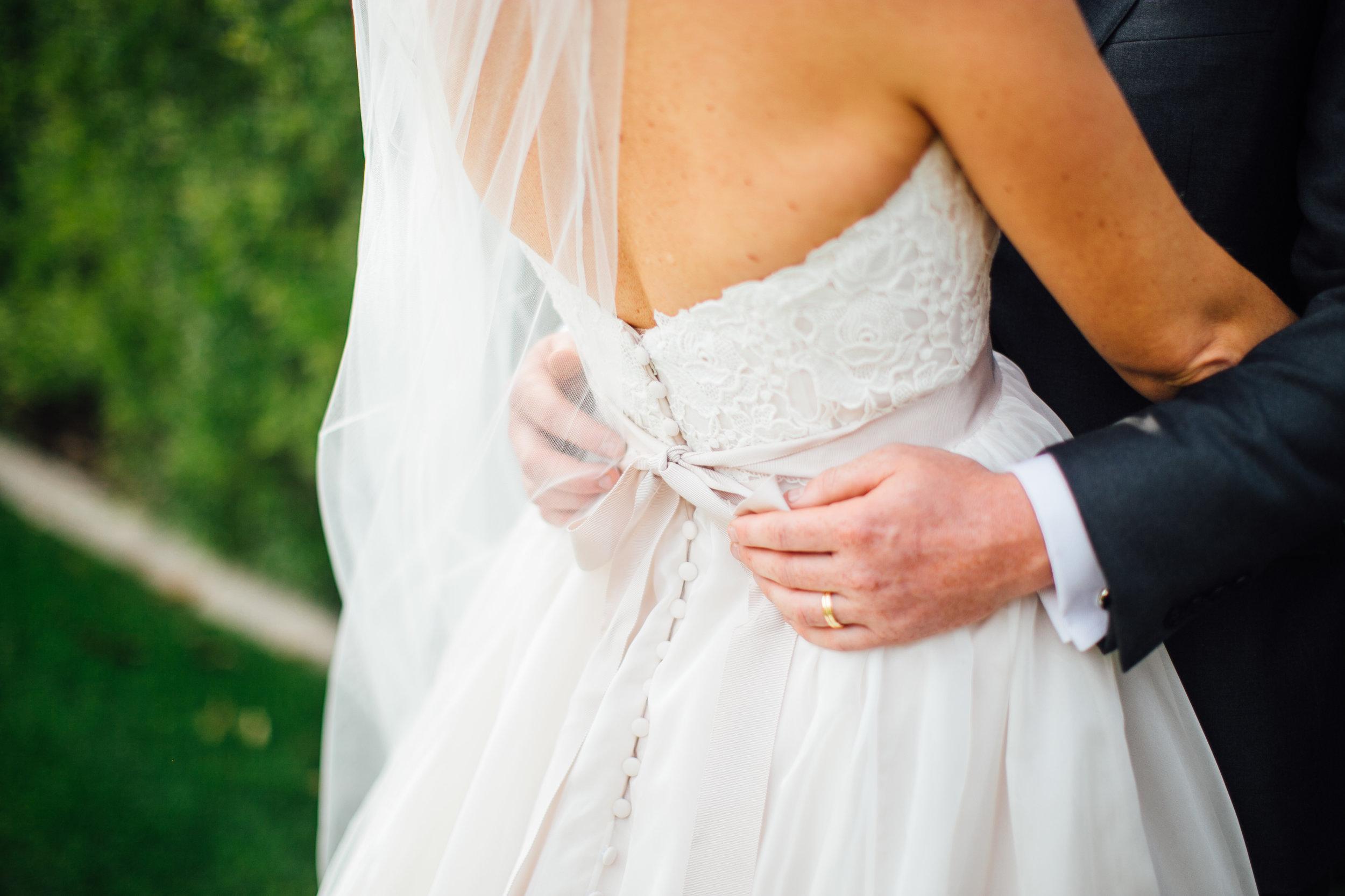 Bride and Groom Closeup Lace Wedding Dress Veil  Little Thompson Valley Pioneer Museum Berthoud Colorado Wedding
