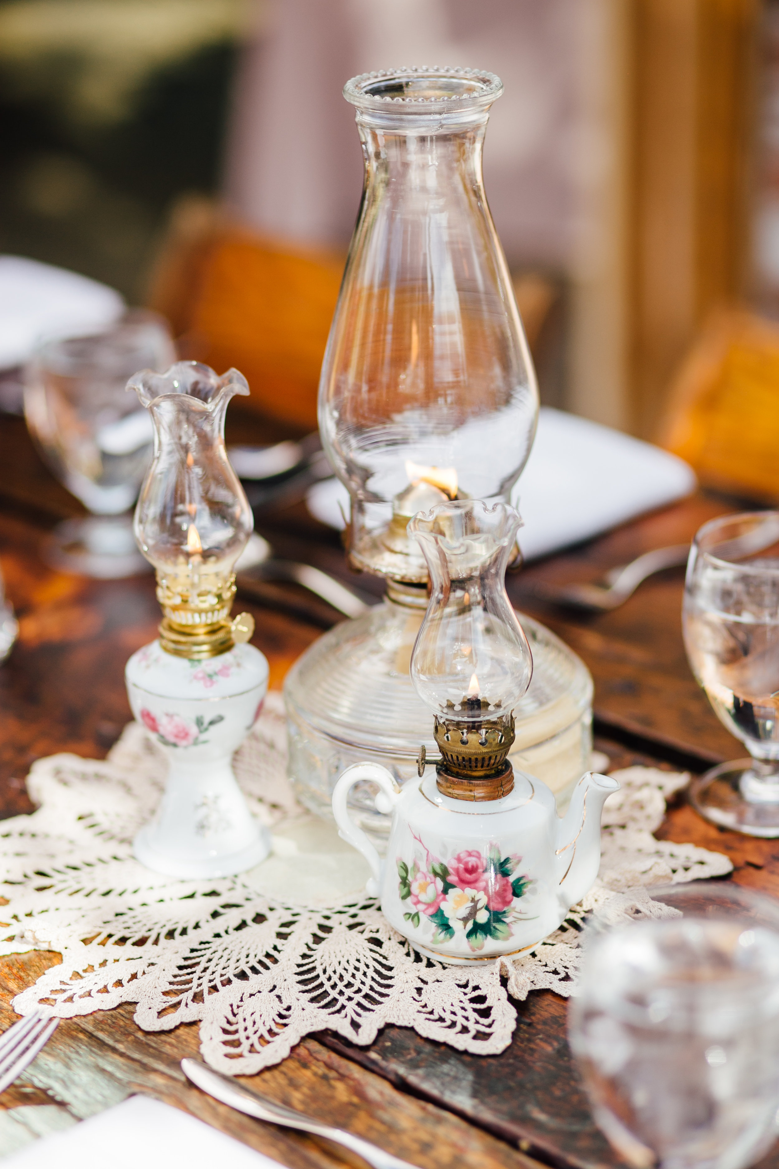 Oil Lamp and Doily Centerpiece Brookside Gardens Berthoud Colorado Wedding