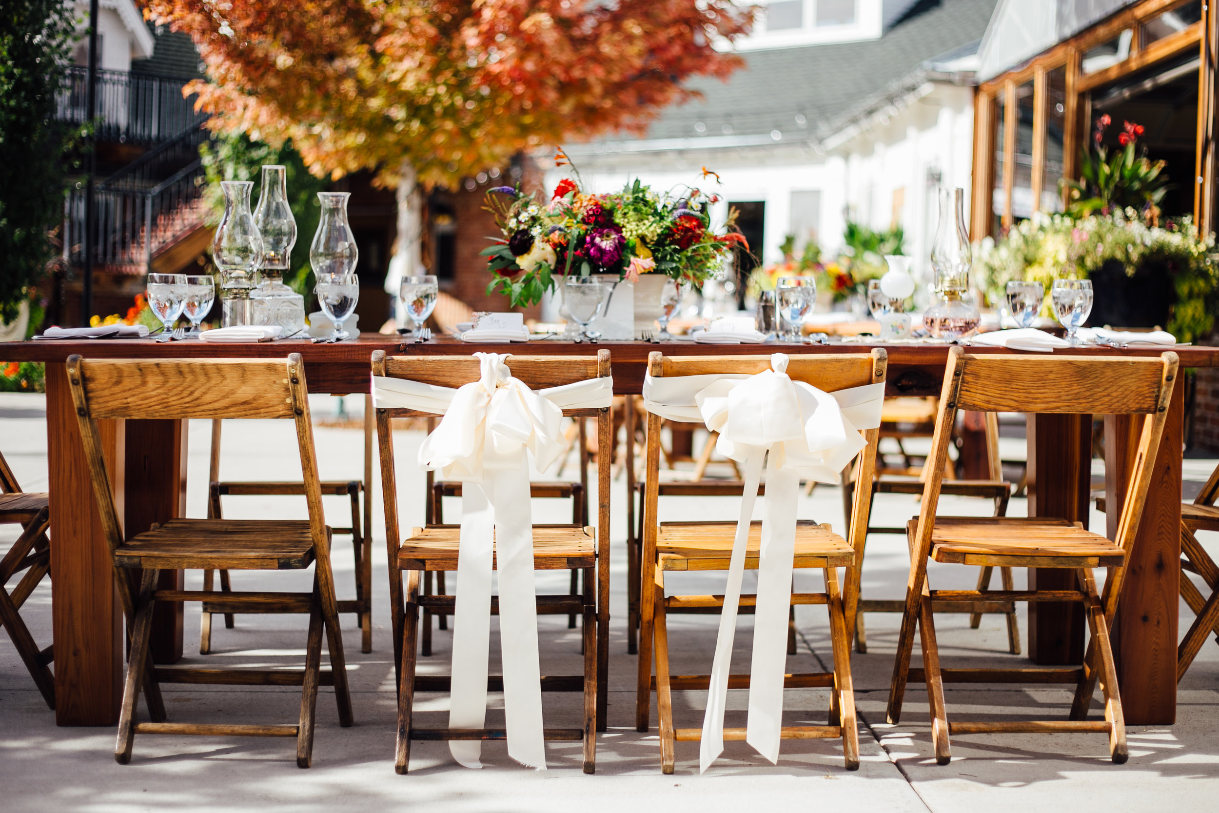 Wedding Reception Flower Centerpieces and Oil Lamp Centerpieces Reception Brookside Gardens Berthoud Colorado Wedding