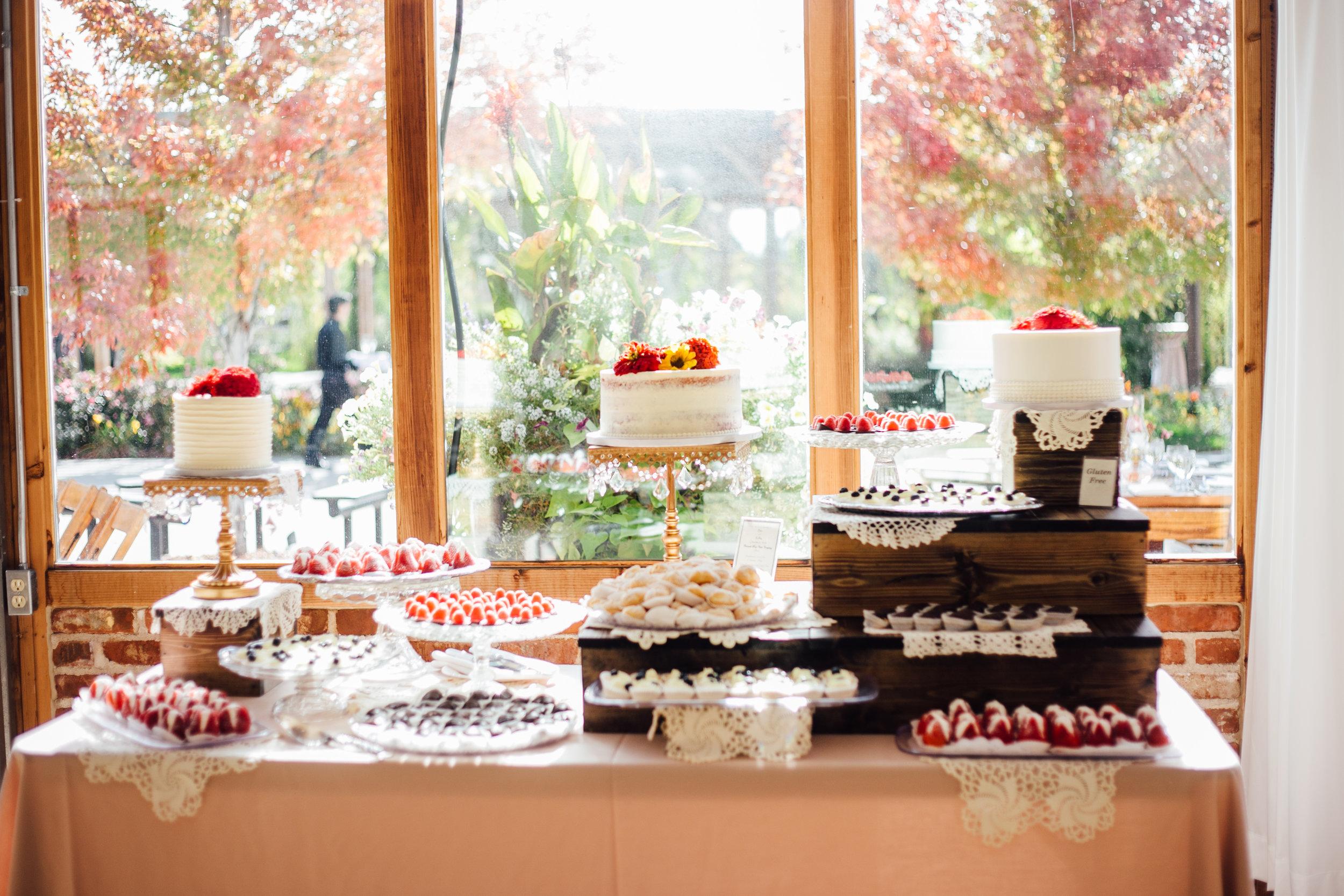 Wedding Dessert Display Reception Brookside Gardens Berthoud Colorado Wedding