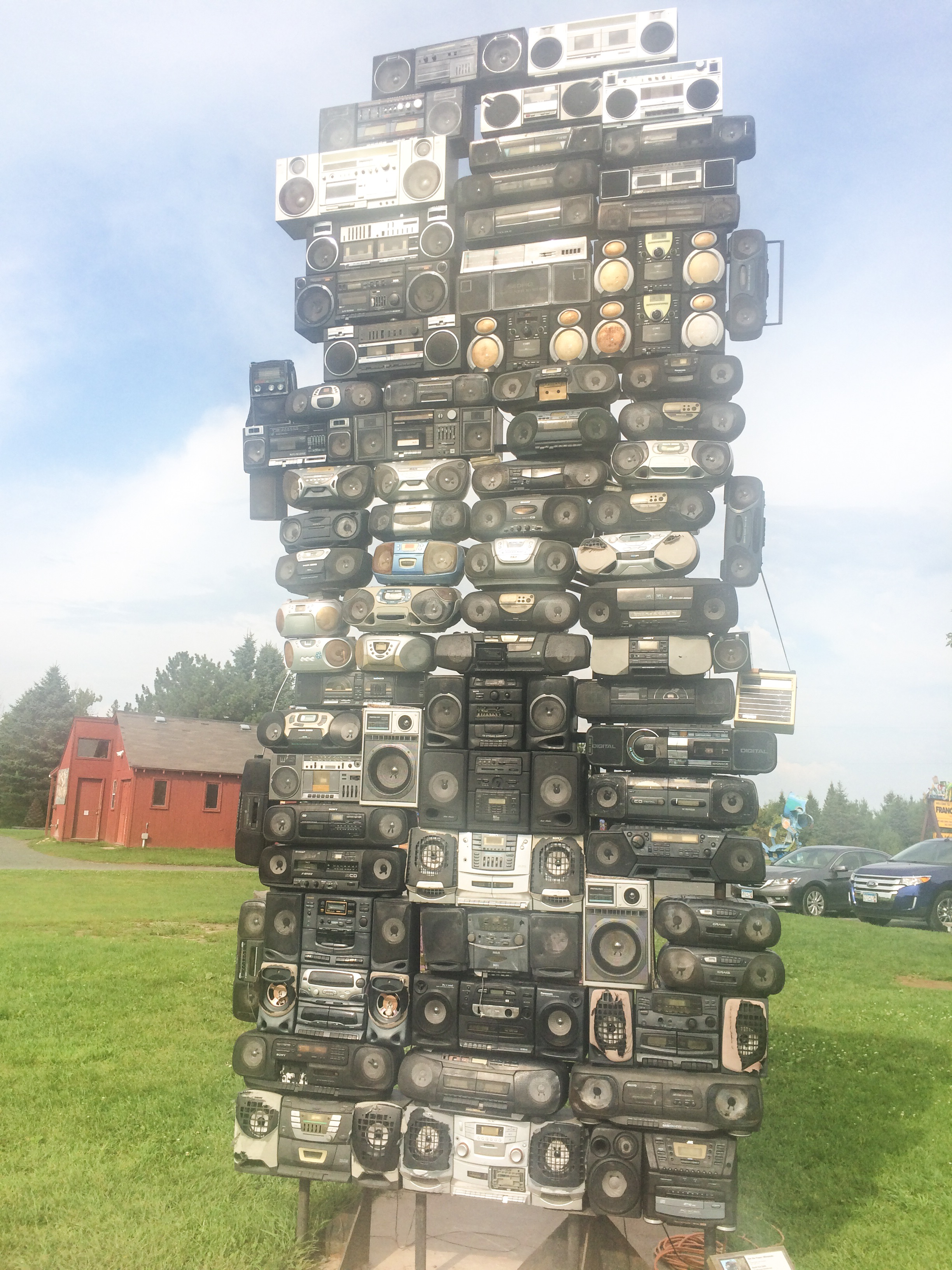"""Love this clever use of our old """"boom boxes!"""" All of our junk transformed into this interesting masterpiece!"""