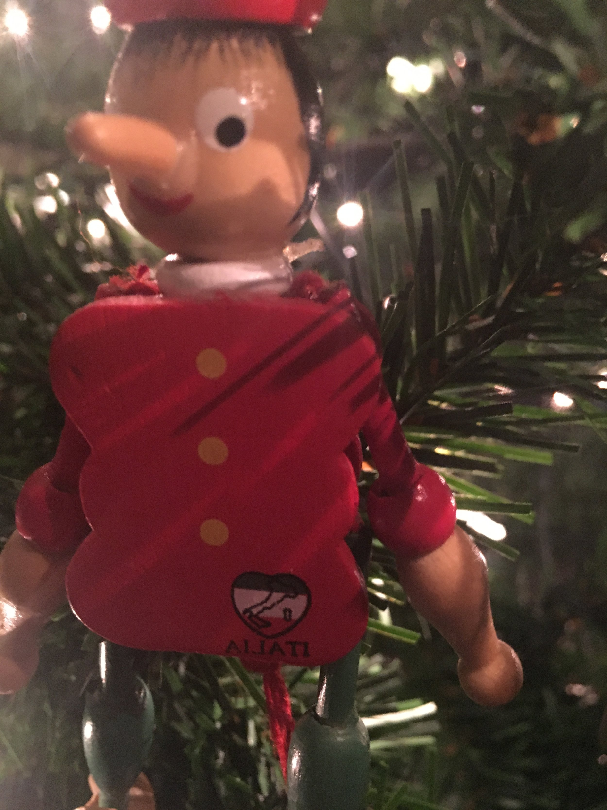 One of my favorite ornaments. In fact, I keep this out all year long. I got this Pinocchio ornament during my 2014 trip to Italy! This was one of the cheapest souvenirs I purchased and one of my favorites. I believe it was no more than 1 euro!
