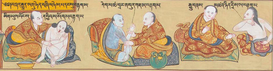 Tibetan Medicine Thangka depicting the three modes of diagnosis: observation, palpation, and inquiry.