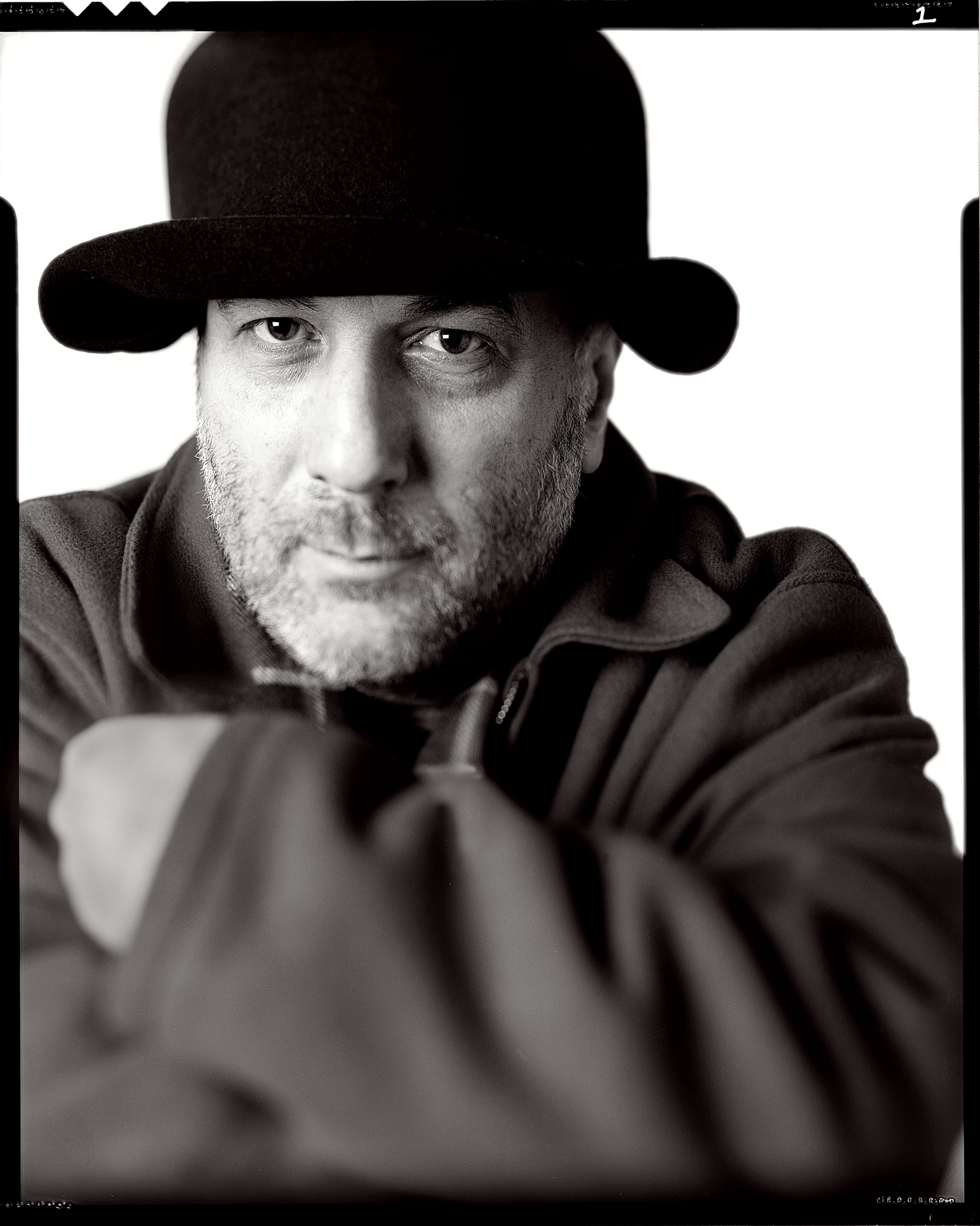 Ron Arad, Furniture Designer. 5x4 Gandolphi b+w. Portrait by Anthony Oliver