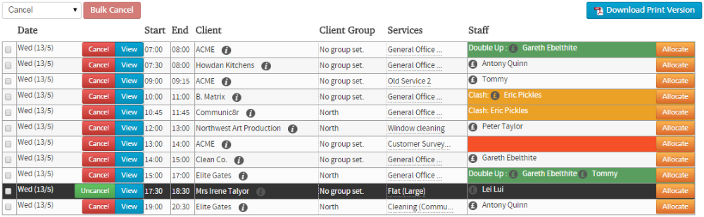 cleaning business software rota