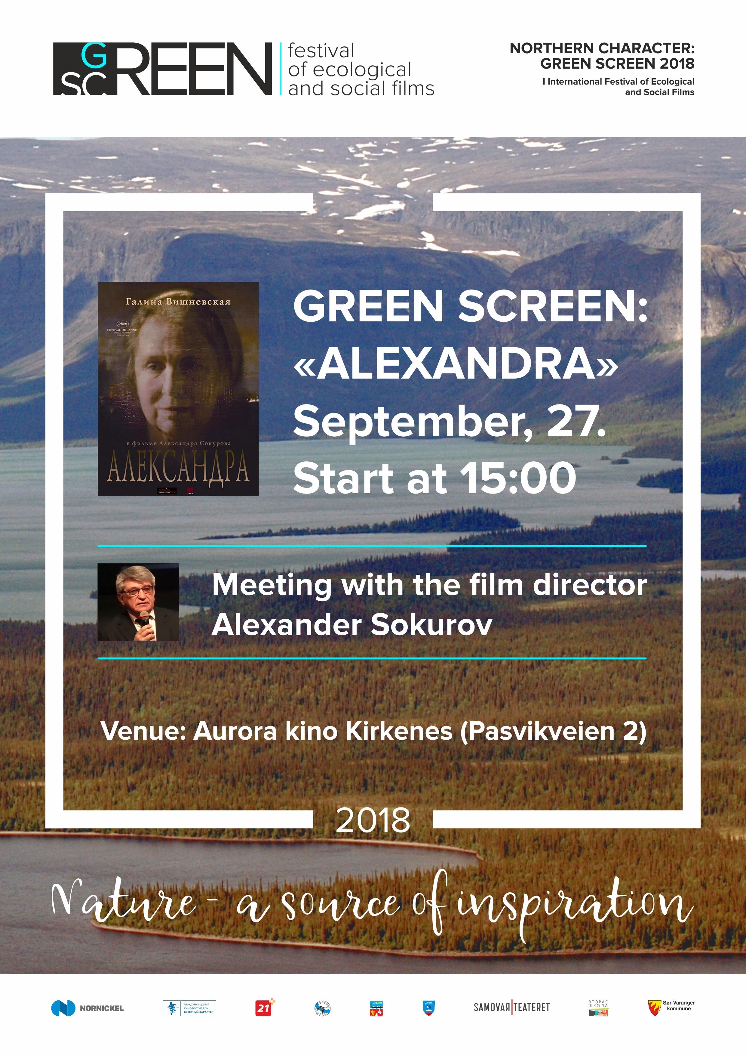 Filmen ALEXANDRA vises på Aurora kino Kirkenes torsdag 27. september med regissør Alexander Sokurov tilstede.