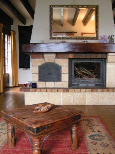 Fireplace and coffee table