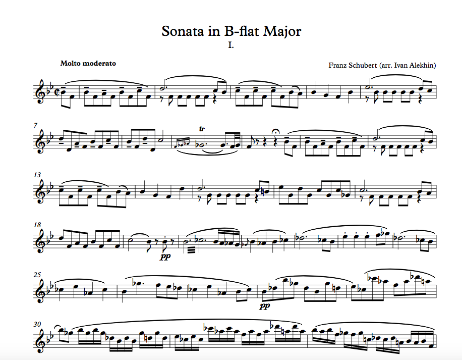 F. Schubert. Sonata in B-flat Major. Movement 1 (click to download)