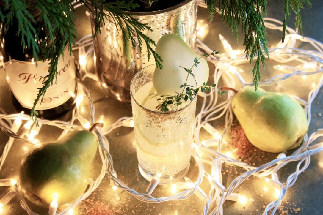 Pear & Thyme Diamond Gin Fizz // Holiday Cocktail Recipe // Habitation Co.