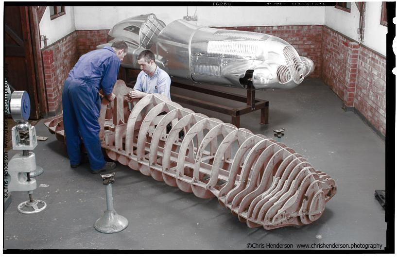 Roach Manufacturing. Mercedes W125 Silver Arrow historic racing car.