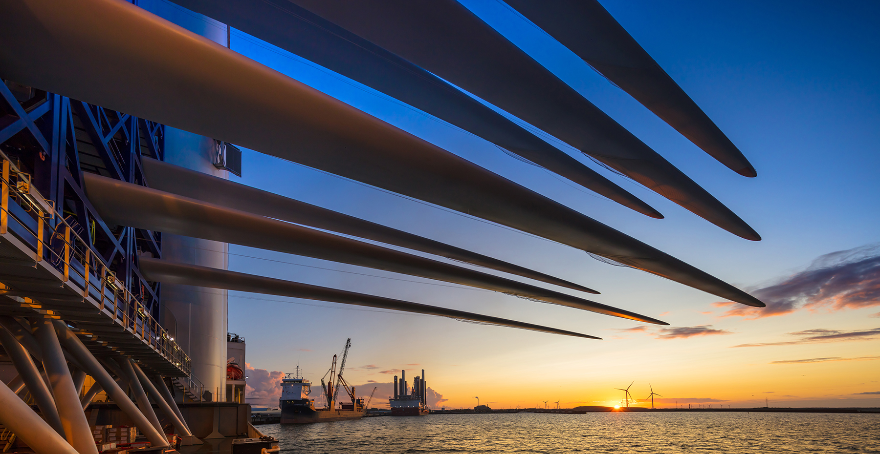 Esbjerg Dawn, Denmark. From the deck of Vole au Vent carrying wind turbine blades for Blyth.