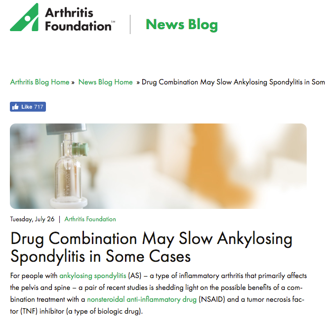 "Arthritis Foundation Blog ""Drug Combination May Slow Ankylosing Spondylitis in Some Cases"""