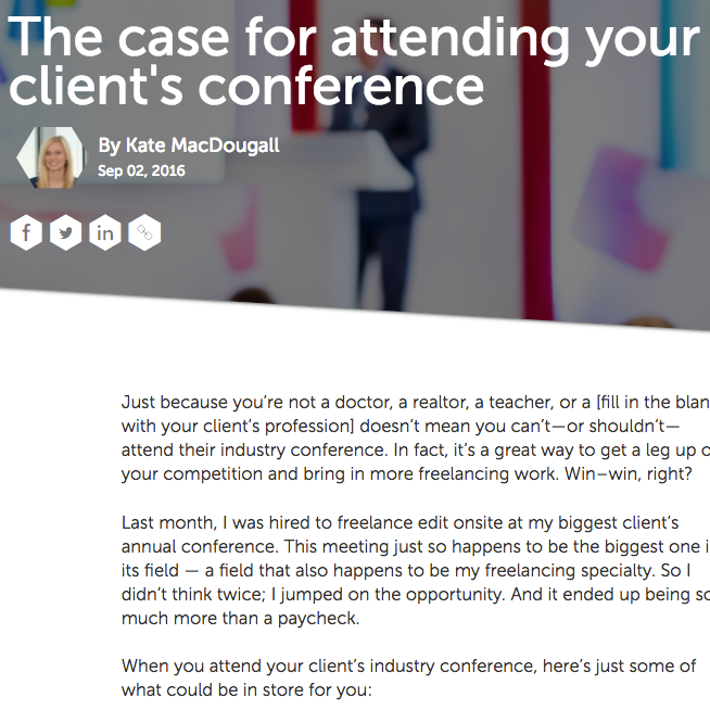 "Freelancers Union Blog ""The Case for Attending Your Client's Conference"""