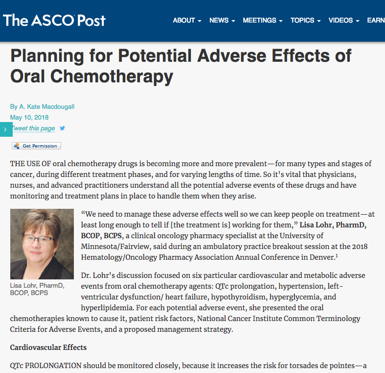 "The ASCO Post ""Planning for Potential Adverse Effects of Oral Chemotherapy"""