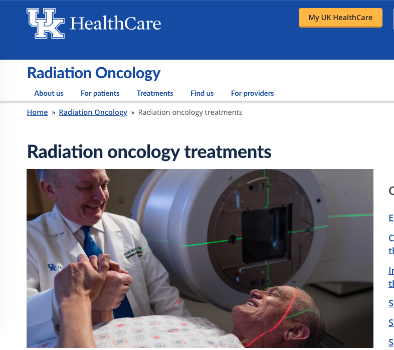 UK HealthCare Radiation Oncology  RadOnc Treatments Landing Page and Subpages Text