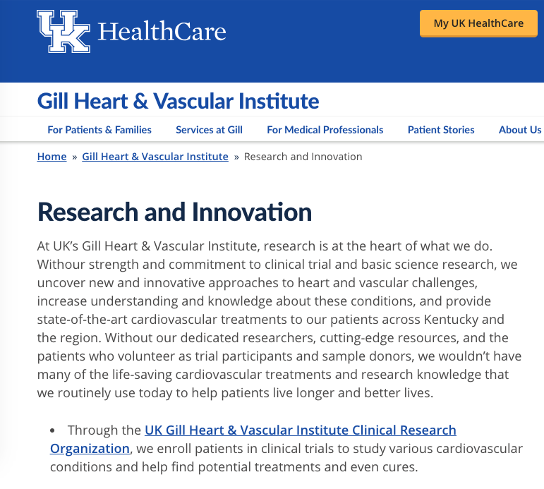 UK HealthCare Gill Heart & Vascular Institute Research and Innovation Landing Page and Subpages Text