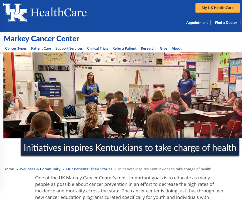 "University of Kentucky Markey Cancer Center Annual Report 2018 ""Initiatives inspire Kentuckians to take charge of health"""