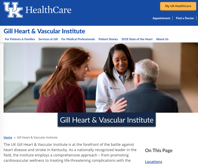 UK HealthCare Gill Heart & Vascular Institute Landing Page Text
