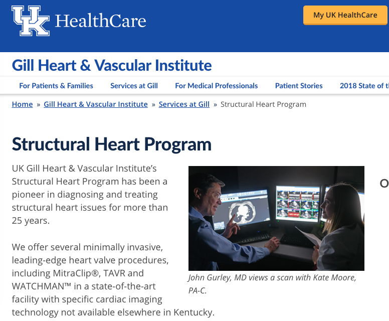 UK Healthcare Gill Heart & Vascular Institute Structural Heart Program Landing Page and Subpages Text