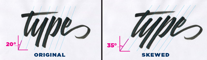 Another aspect of the brush script style is the angle at which the tool is held while writing the letters. This is something that will really help when it comes to drawing the letters with pencil. Notice that the angle of the tool is held consistently throughout each stroke. In this way, the angle at the top of the stroke should match that of the bottom of the stroke.