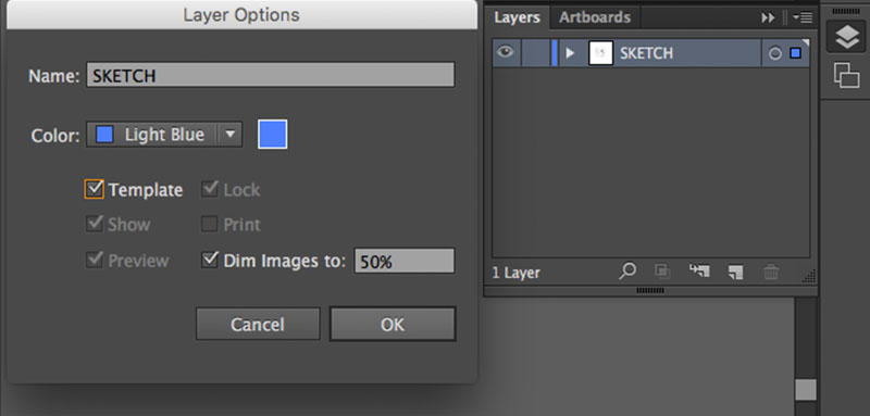 "In Adobe Illustrator, I place my image into the document, label its layer ""sketch"", and then set that layer to be a template. As a template layer, its contained image will be dimmed to whatever percentage of opacity you choose. Another feature of template layers is that your image will render even when you are in Outline Mode (Command + Y).  Outline mode is a display setting that will show you the bare bones of your paths. In this mode, the strokes and fills of your paths will be hidden. This mode is useful for studying the shape of your path. I then lock the sketch layer and create a new layer for my digital paths."