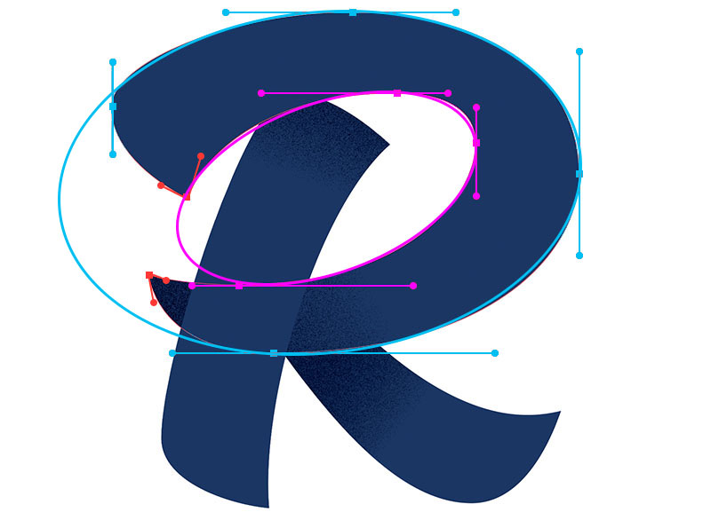 "When placing points on an irregular shape, your points should also be positioned on the extrema of each arc. One way to think about the construction of the bowl of the letter ""R"", is that you are basically creating two shapes; an inside and an outside. You will need to place your points on the extrema of both the outside and inside shape."