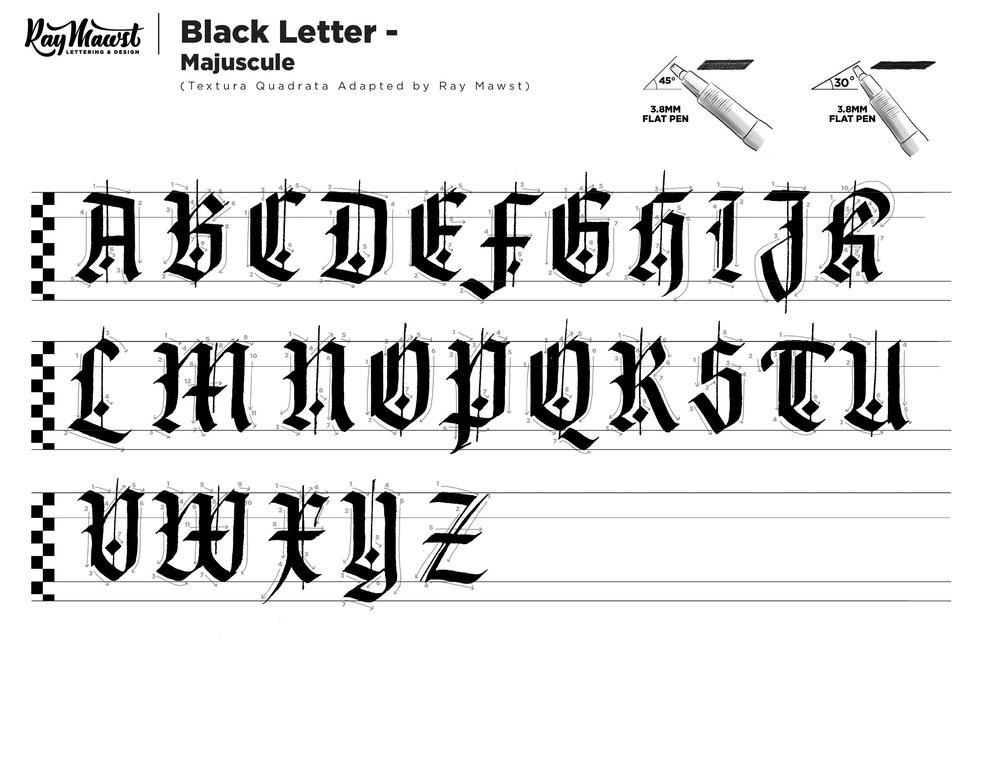 Black Letter Worksheets Free Font Ray Mawst Lettering Design