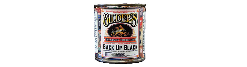 Backup Paint   - After you've laid out all your gold and it's looking good on the glass, use Back Up Black to preserve the gold. Back Up Black is a black paint that dries hard and will protect the gold beneath where ever it is painted.