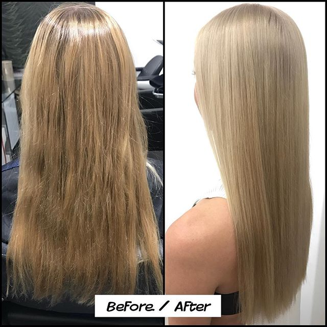 Today's Project: Lifted with: @schwarzkopfusa #blondeme bond enforcer 20vol and @brazilianbondbuilder on previously box colored hair. Glossed and toned with equal parts @redken #shadeseq 9GI + 9V for 15 minutes. Lastly after washing and drying, I added some #babylights with @schwarzkopfusa BlondeMe Bond Enforcer 10vol and #brazilianblowoutb3 #b3 for 10 min.