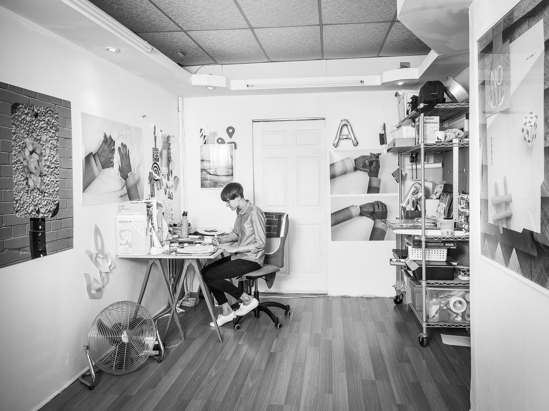 Copy of Jennifer Grimyser work in progress in her Art Studio Brooklyn Neesh NYC