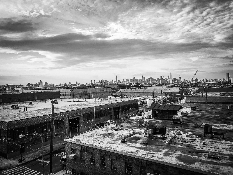 View of Manhattan Skyline from Roof of Matt Miller Bushwick Art Studio Brooklyn Neesh NYC