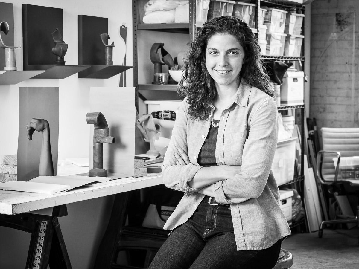 Portrait of Photographer Sculptor Ellie Krakow in her Art Studio in Queens NYC
