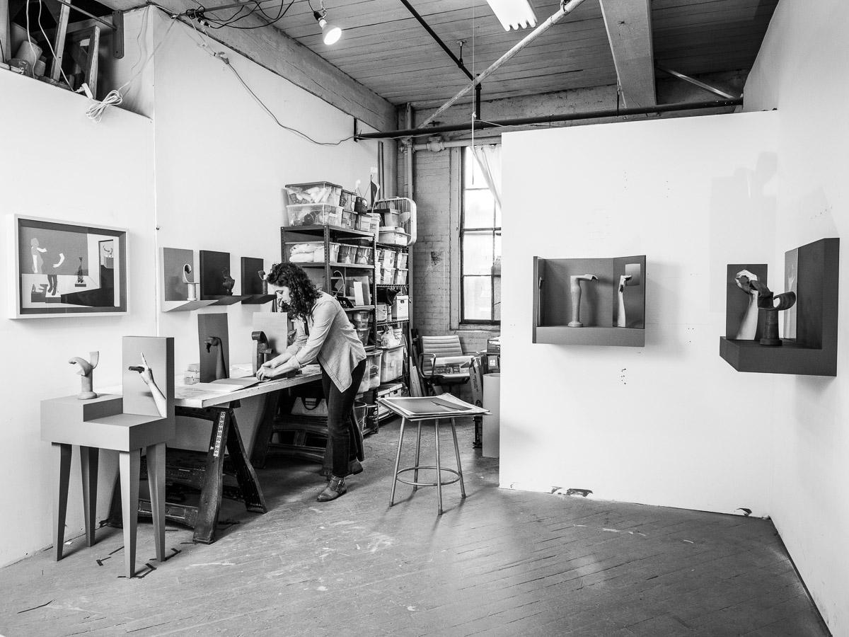 Ellie Krakow work in progress in her Art Studio in Queens Neesh NYC