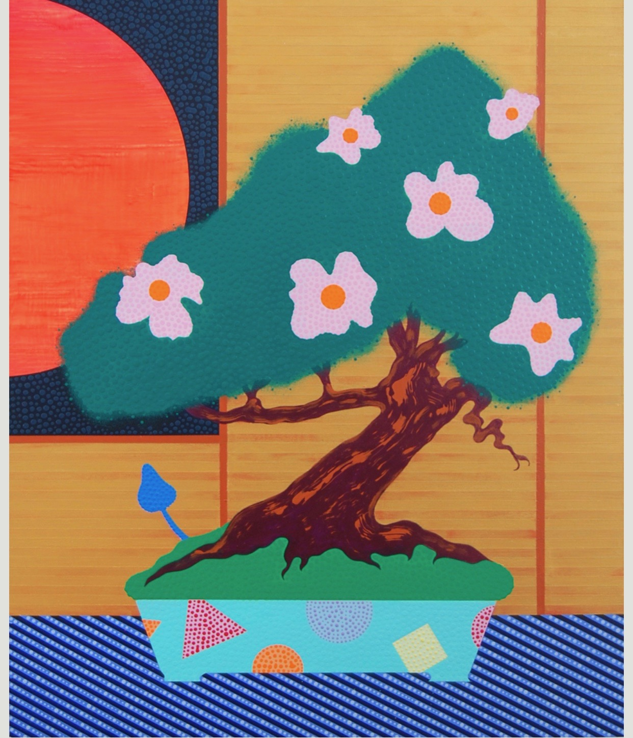 "Eric Hibit, ""Flowering Bonsai"" acrylic on panel, 20"" x 16"", 2017"