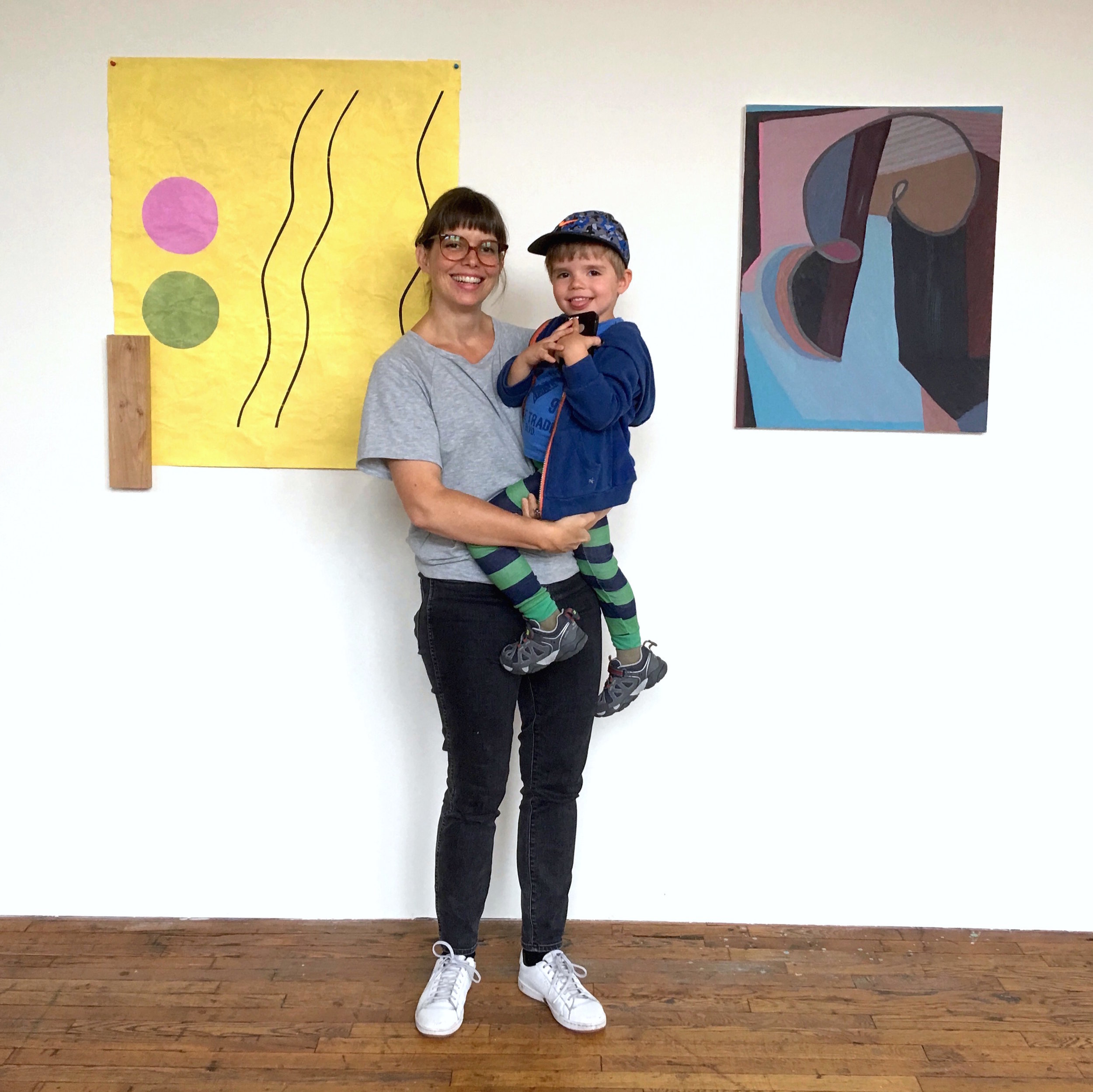 Stacy Fisher and Felix infront of her work (left)