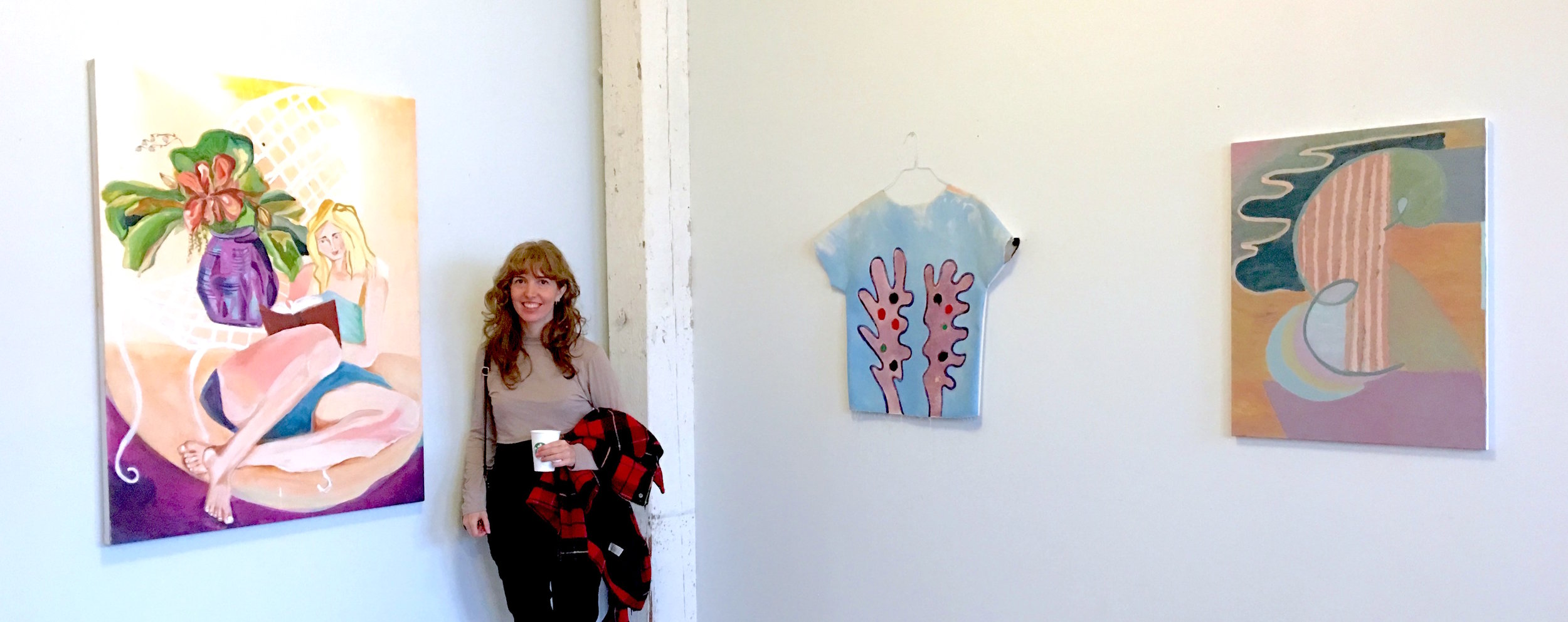 Maureen Cavanaugh infront of her work (left)