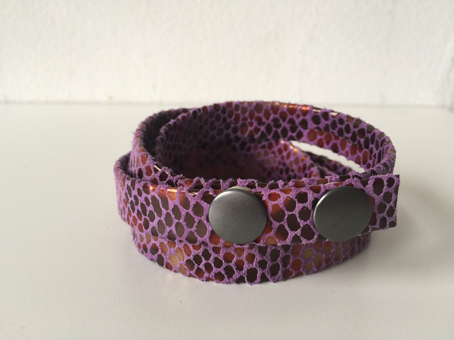 Soft snake skin lavender leather wrap bracelet (available in single, double and triple wrap options) with two antique pewter snaps