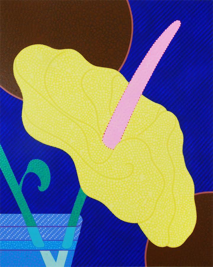 Image caption: Eric Hibit, Yellow Anthurium , 2018, acrylic on panel, 20 x 16 in. Courtesy of the artist.