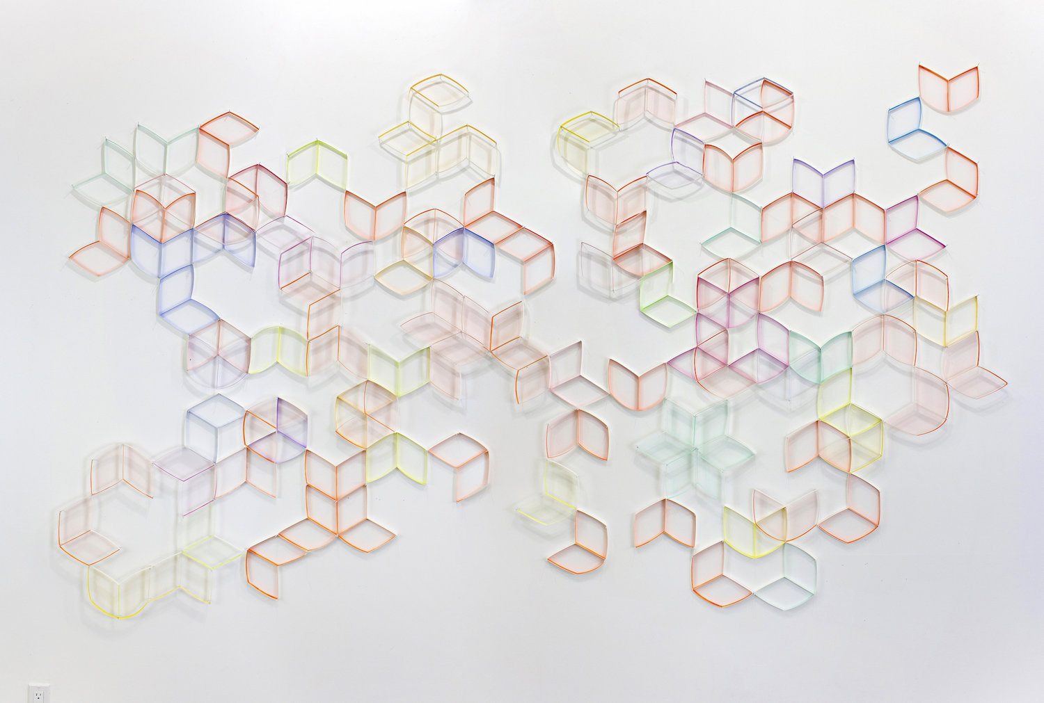 Hexagon (Open) , gouache, colored pencil, paper, nails, dimensions variable, 2016