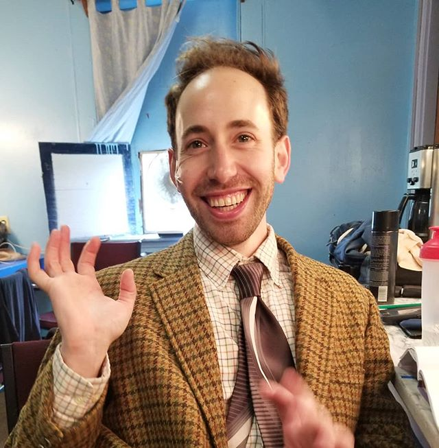 """I'm not exactly sure what this picture is, but there is a lot of joy in it.  There are:  5 MORE CHANCES TO SEE THE WHO'S TOMMY AT SEVEN ANGELS THEATRE IN CT.  Thursday @2pm, and 8pm, Friday @8pm, Saturday @8pm, and Sunday @2pm.  NYC friends it is 2 hours by train, an hour and a half by car. Recieving really great reviews: """"Adam Ross Glickman brings such vocal skill and character-actor panache to Uncle Ernie it's a shame there aren't more songs for him."""" -New Haven Review Do reach out if you can make it out.  Info at:  https://sevenangelstheatre.org/event/the-whos-tommy/ Xoxo • • • #rock #tommy #thewho #rockandroll #theater #theatre #storytelling #uncleernie #music  #musicaltheater #rockopera #fun #role #actor #singer #vibes #love #work #dressingroom #fun #heart #soul #adamrossglickmam #northeast #theater #awesome #review #cooky #trip #smashthemirror"""