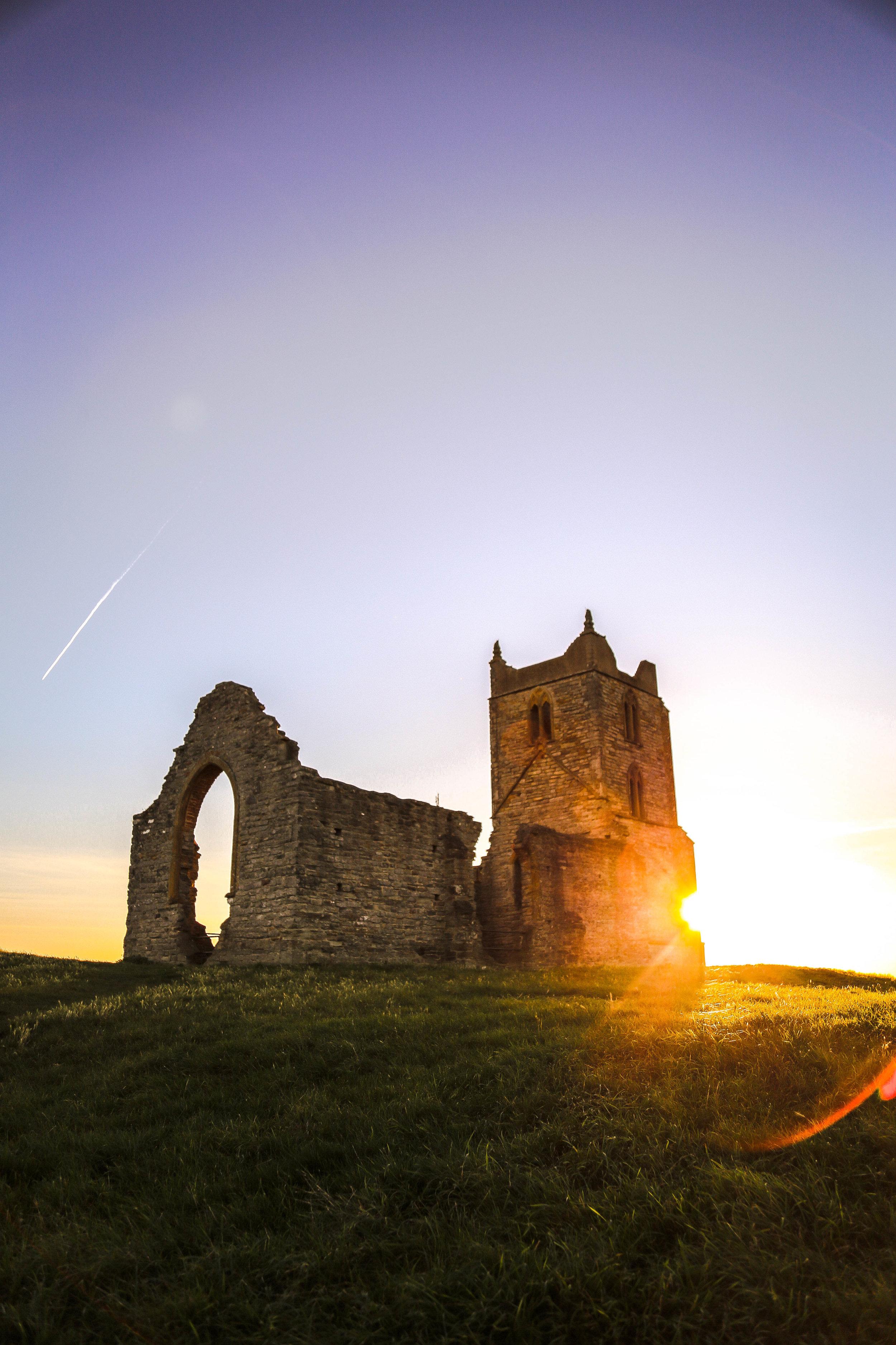 Last Light at the chapel  Burrow Mump, UK