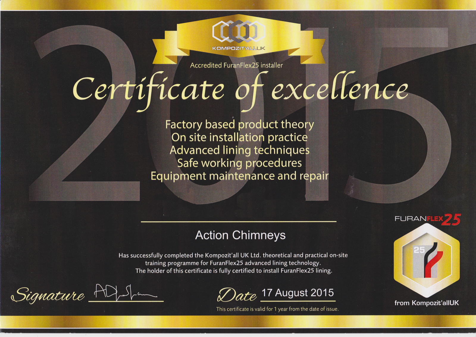 Furanflex25 certificate that each employee is presented with